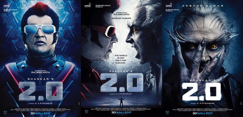 Akshay Kumar and Rajinikanth in the posters of 2.0, the sequel to Enthiran/Robot