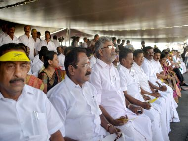 Amid political crisis, AIADMK MLAs and ministers participate in an event organised by Navy and Coast Guard on-board INS Chennai on Tuesday. PTI