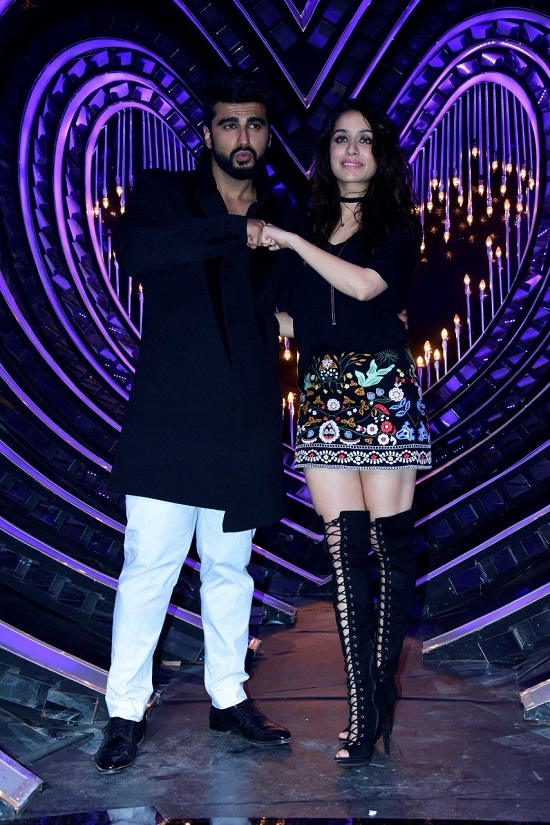 Arjun Kapoor & Shraddha Kapoor on the sets of Nach Baliye to promote thier upcoming movie 'Half Girlfriend'