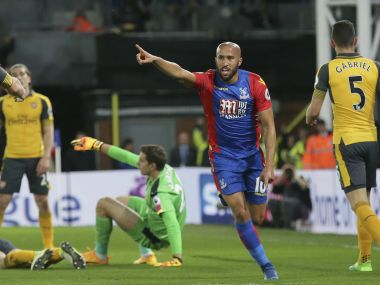 Crystal Palace's Andros Townsend celebrates after scoring against Arsenal. AP