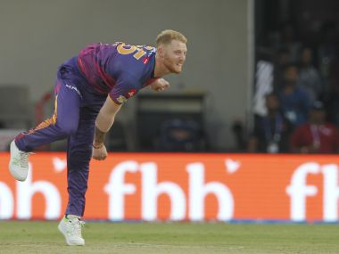 Ben Stokes of Rising Pune Supergiant bowls during the match against Kings XI Punjab. IPL/Sportzpics