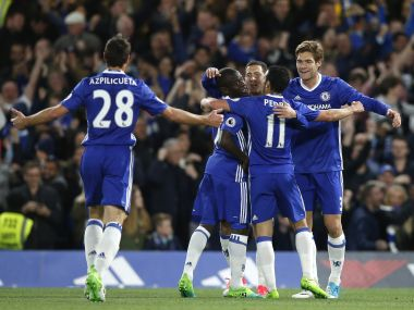 Chelsea players celebrate after Eden Hazard scored the opening goal against Manchester City. AP