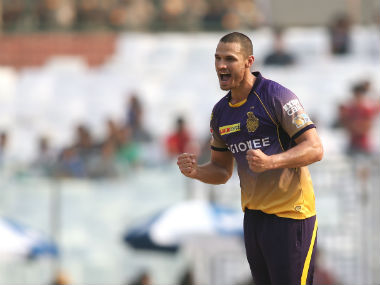 KKR's Nathan Coulter-Nile celebrates after picking up three wickets against Delhi Daredevils. Sportzpics