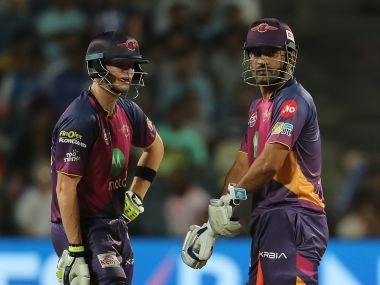 Rising Pune Supergiant captain Steven Smith and MS Dhoni. Sportzpics