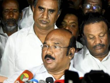 Tamil Nadu Finance Minister D Jayakumar with other ministers, MPs and MLAs addressed media after a meeting at Chief Minister E Palanisamy's residence to take a desertion on TTV Dinakaran to be kept away from the party, in Chennai on Tuesday. PTI