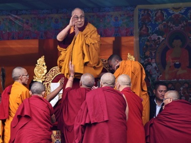 The Dalai Lama delivering a religious teaching to Buddhist followers. AFP