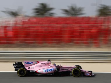 Sergio Perez driving the (11) Sahara Force India F1 Team VJM10 on track. Getty