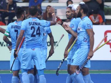 The Indian team celebrates after a goal against Great Britain. Image courtesy: Hockey India