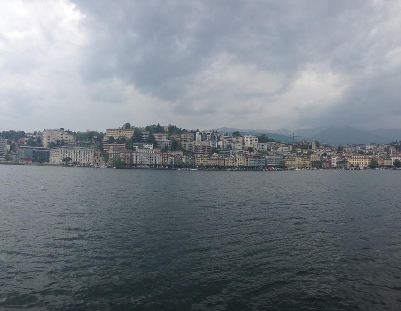 Lugano town on a rainy day