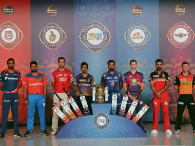 The captains of the IPL 2017 teams pose with the trophy. Sportzpics