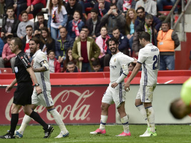 La Liga: Real Madrid's Isco strikes late to sink Sporting Gijon and go six points clear of Barcelona on top