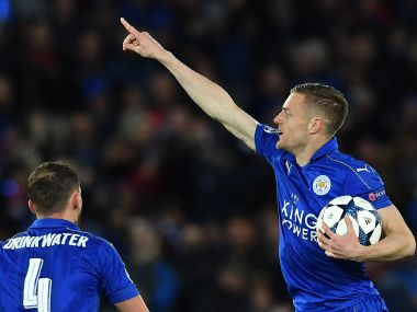 Leicester City's Jamie Vardy celebrates after scoring against Atletico Madrid. AFP