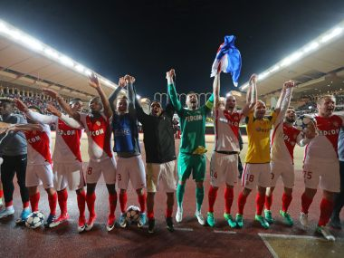 Monaco's players wave to the fans after their win over Borussia Dortmund. AFP