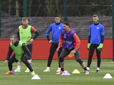 Manchester United players training ahead of their Europa League quarter-final second leg. AFP