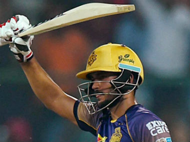 Manish Pandey celebrates after getting to his half-century. PTI