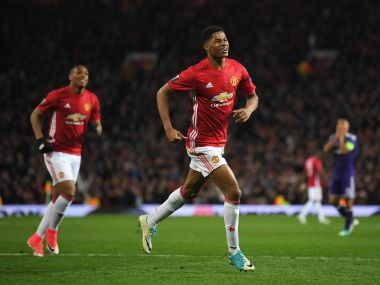 Marcus Rashford of Manchester United celebrates as he scores against Anderlecht. Getty