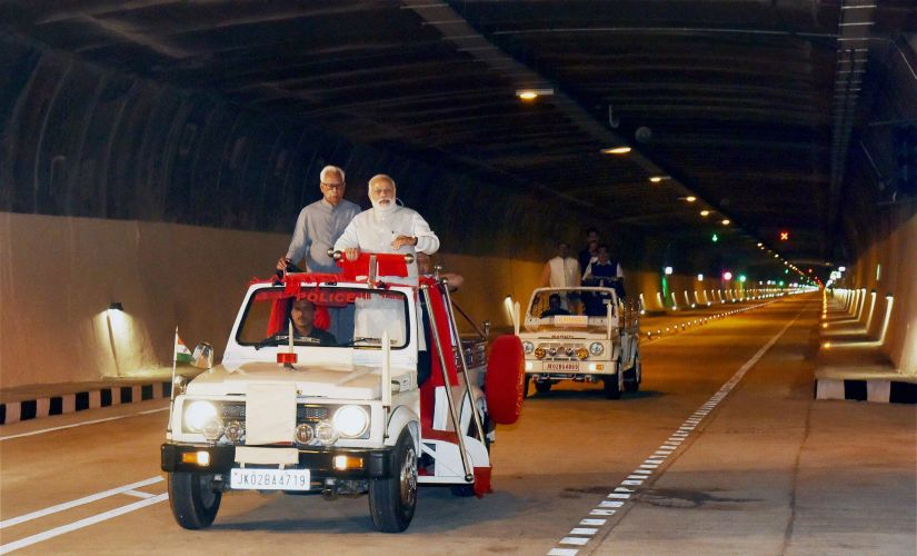 Narendra Modi taking tour of the Chenani-Nashri Tunnel after its inauguration on Sunday. Also seen Governor NN Vohra. PTI