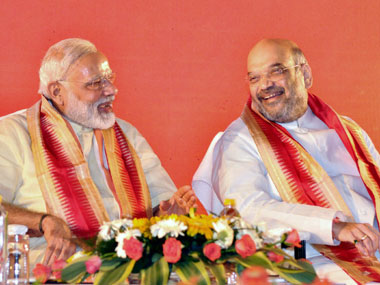 Prime Minister Narendra Modi with part  president Amit Shah at BJP's  National executive meet in Bhubaneswar on Saturday. PTI