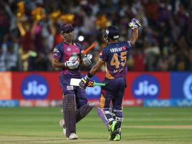 MS Dhoni and Manoj Tiwary of Rising Pune Supergiant celebrate their win. Sportzpics