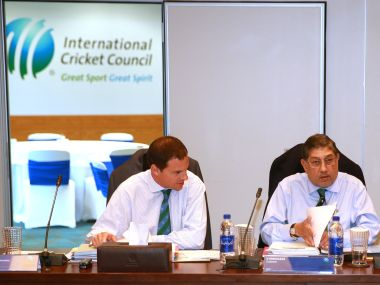 File photo of N Srinivasan during an ICC board meeting at the ICC headquarters. Getty