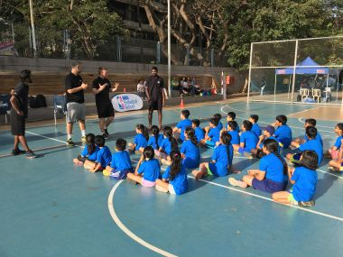 Ryan Burns, Technical Director of the NBA Basketball School, conducts a session at the NBA Basketball School in Mumbai