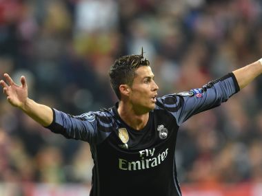 Real Madrid's Cristiano Ronaldo reacts after scoring against Bayern Munich. AFP
