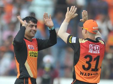 Sunrisers Hyderabad Rashid Khan (L) celebrates the wicket of Gujarat Lions Aaron Finch. AFP