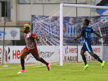 Sonny Norde celebrates his goal that put Mohun Bagan ahead of Minverva Punjab in the 84th minute. Image courtesy: Hero I-League