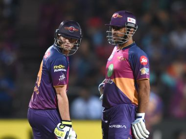 RPS captain Steve Smith and MS Dhoni. AFP