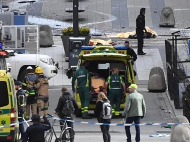 A truck crashed into a department store in central Stockholm. Reuters