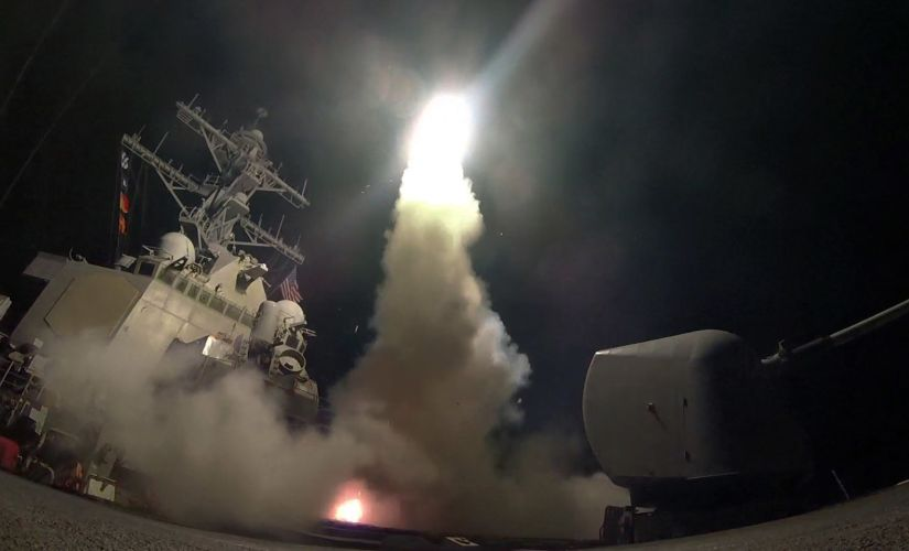 In this image provided by the US Navy, the guided-missile destroyer USS Porter (DDG 78) launches a tomahawk land attack missile in the Mediterranean Sea, on Friday. AP