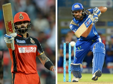 RCB's captain Virat Kohli (L) and Mumbai Indian skipper Rohit Sharma. AFP