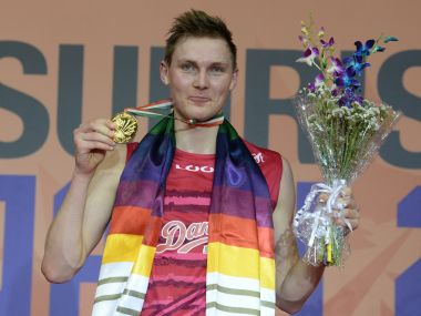 Denmark's Viktor Axelsen with his gold medal after winning the men's singles final match at India Open. AFP