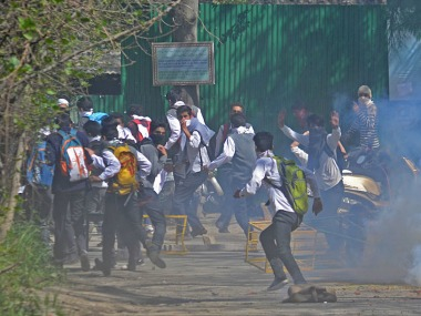 Students during the protest in SP College of Srinagar. Image courtesy: Faisal Khan