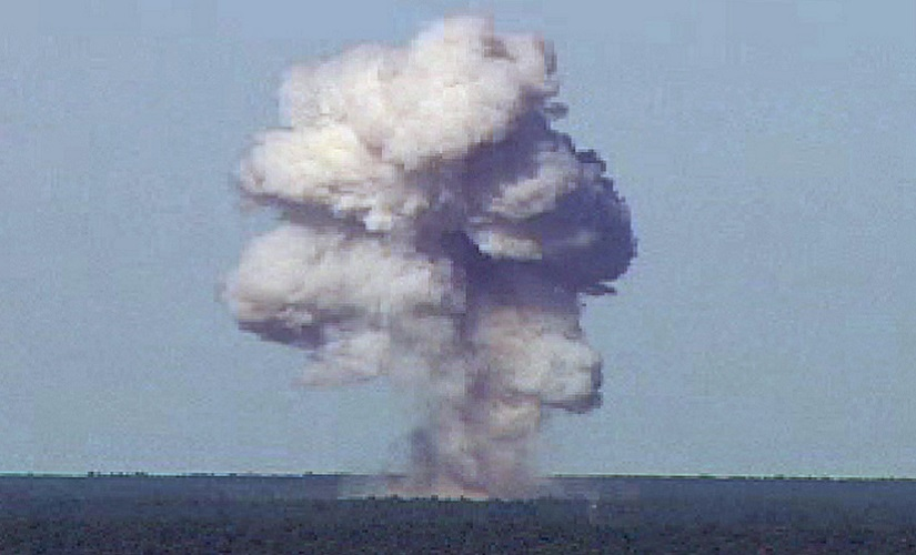 The GBU-43/B, also known as the Massive Ordnance Air Blast, detonates during a test at Elgin Air Force Base, Florida. It was used in Afghanistan on Thursday. Reuters