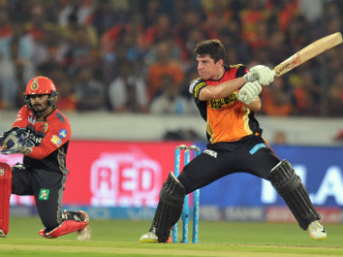 SRH's Moises Henriques in action during the IPL 2017 opener against RCB. AFP