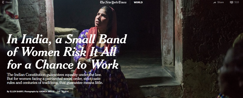 Ellen Barry's report on Indian women's struggles to access the labour market, as seen on the New York Times website