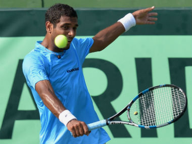 India's Ramkumar Ramanathan in action in the Davis Cup Asia Oceania group tie against Uzbekistan. AFP