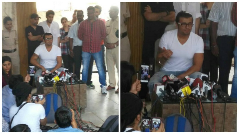 Sonu Nigam addressing the press conference on Wednesday, 19 April 2017. Images courtesy: Firstpost Hindi