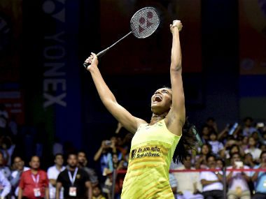 PV Sindhu reacts after winning the India Open Super Series title by beating Carolina Marin. PTI