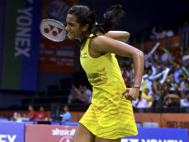 PV Sindhu celebrates her win over Saina Nehwal in the quarter-final of the India Open 2017. PTI