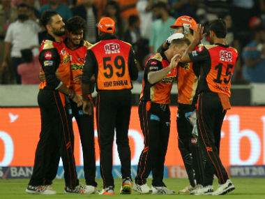 SRH players celebrate during their match against RCB in Hyderabad. Sportzpics