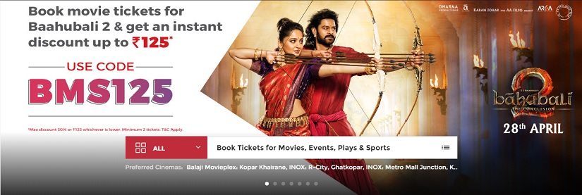 Discounts on Baahubali 2 tickets on Book My Show