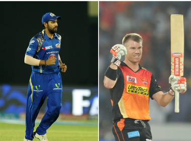Mumbai Indians captain Rohit Sharma (L) and Sunrisers Hyderabad captain David Warner.