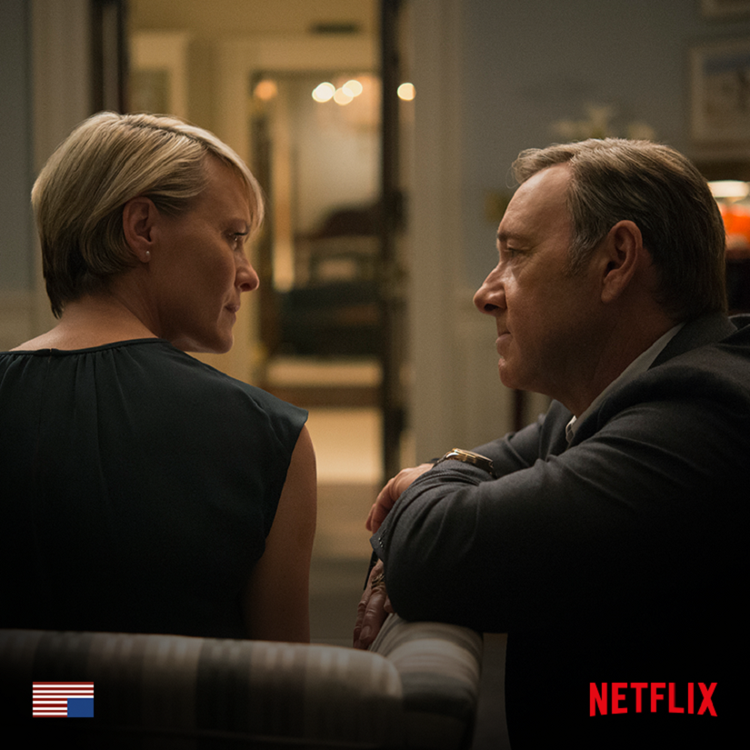 Robin Wright and Kevin Spacey in House of Cards. Image from Facebook