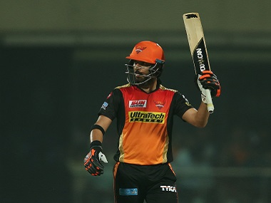 Yuvraj Singh of the Sunrisers Hyderabad raises his bat after reaching his fifty against Delhi Daredevils. Sportzpics