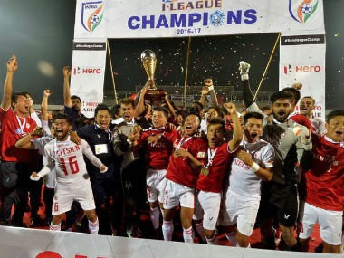 Aizawl FC celebrate after claiming maiden Hero I-League title. Twitter: @ILeagueOfficial