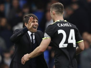 Chelsea manager Antonio Conte with Gary Cahill. Reuters