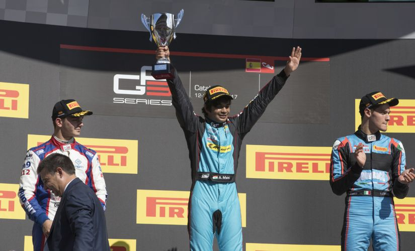 Arjun Maini on the podium after his first GP3 win at Barcelona.