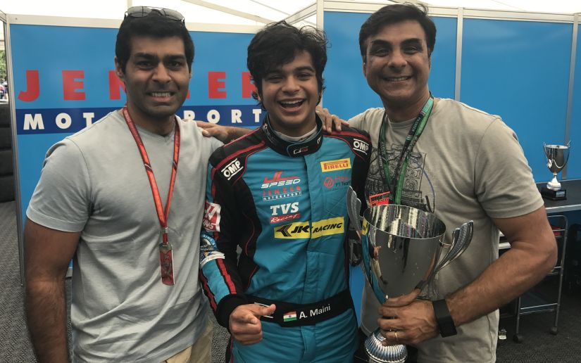 Arjun Maini with his father and Karan after the GP3 race victory.